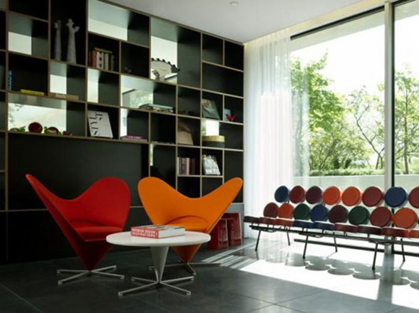 contemporary bookshelf hotel library ideas