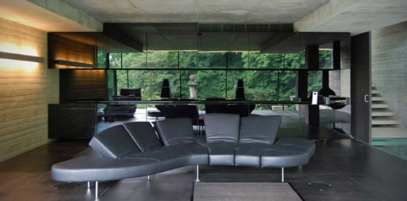 modern glass house living room interior