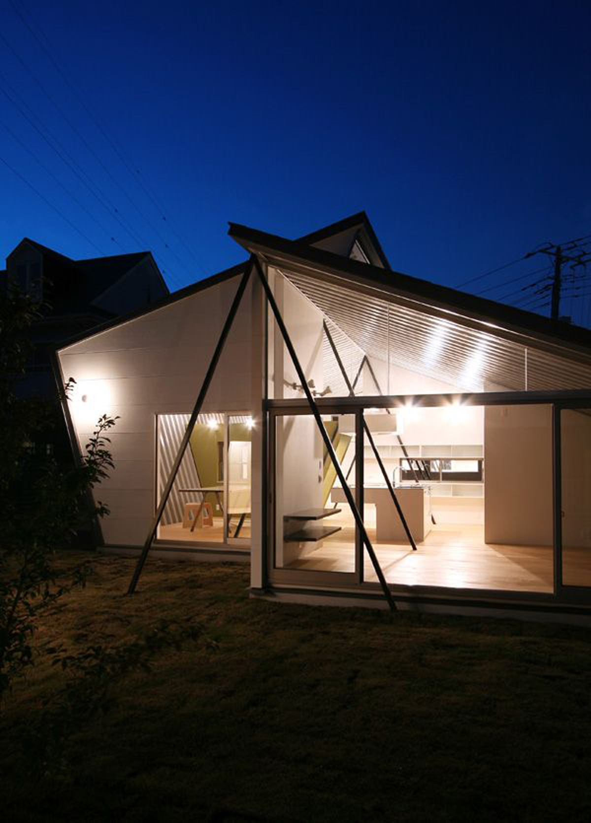 extended glass material for small house plans