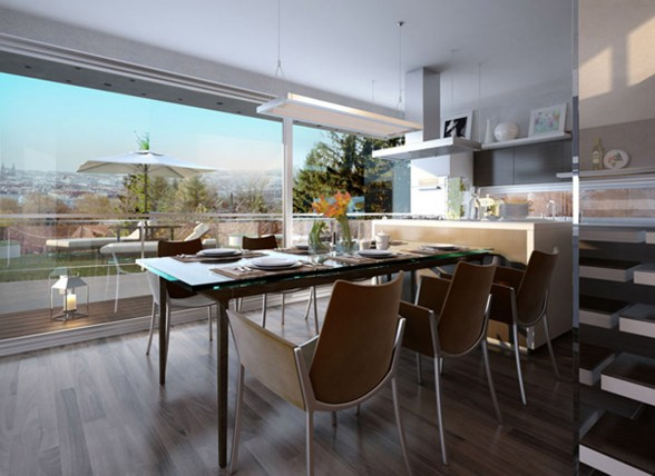 Incredible View Glass House Building - Kitchen