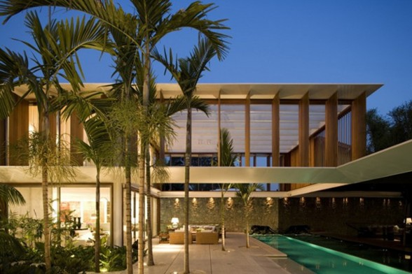 JH House, Resort Looking House Design in Brazil - Night View