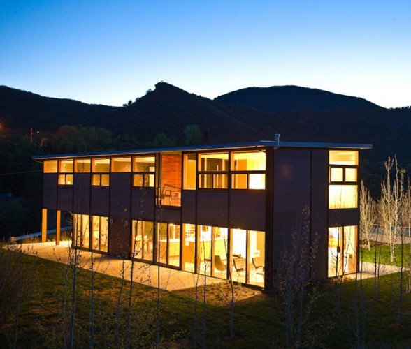 Mountain Prefab House Architecture with Basketball Court in Aspen - Night View