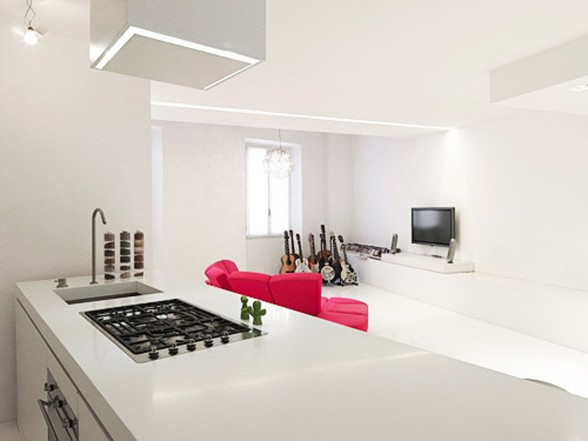 White and Modern Minimalist House Design - Kitchen