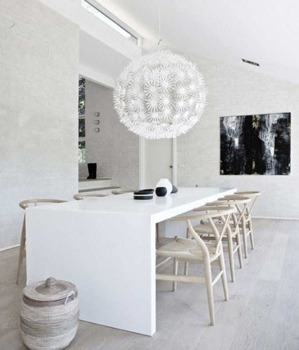 Beautifully Simple Interior in White Themes from NORM Architects - Dining Room