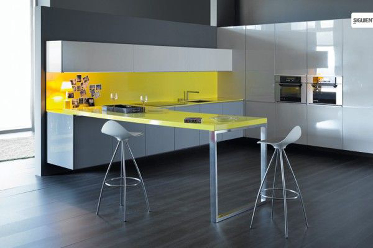 Cheerful Interior Design in Yellow Themes - Desk