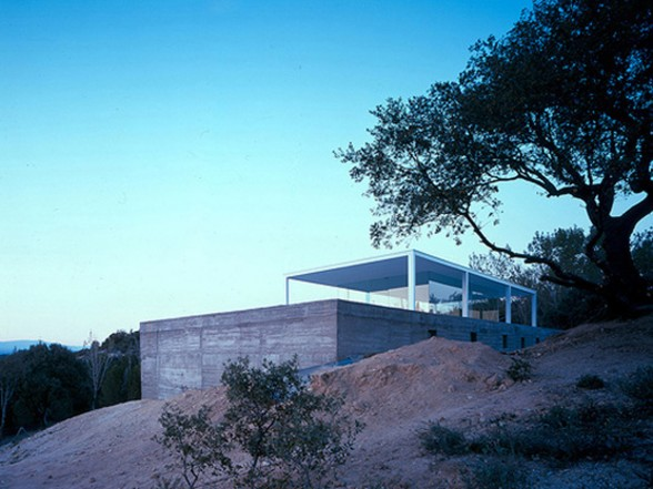 De Blas House, A Concrete Glass Box House Design - Back View
