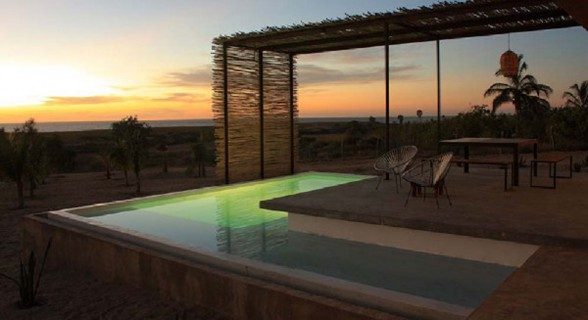 Exotic Beach House Design in Beachfront of Baja, Mexico - Night Panorama