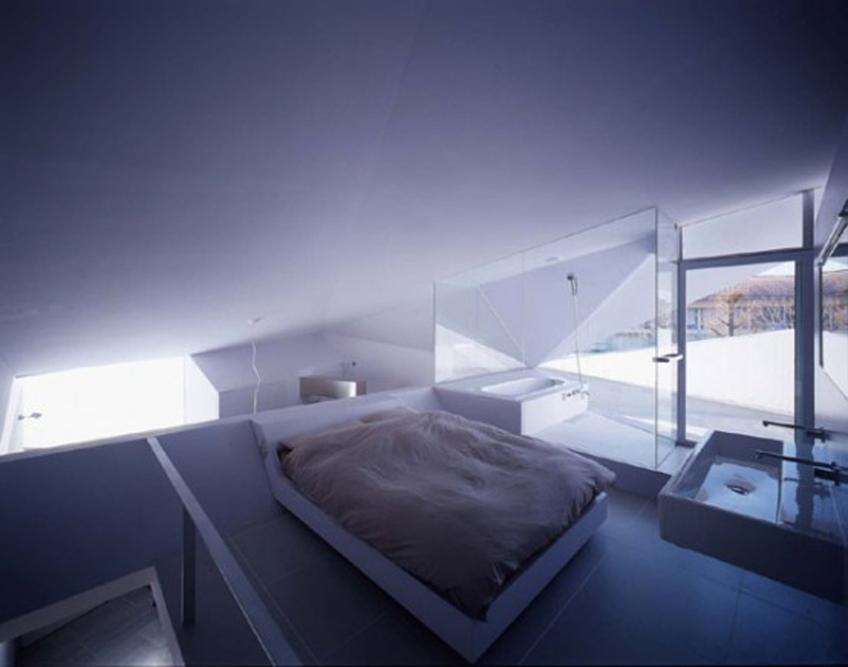 Japanese Concrete House Design with Small Building Concept - Bedroom
