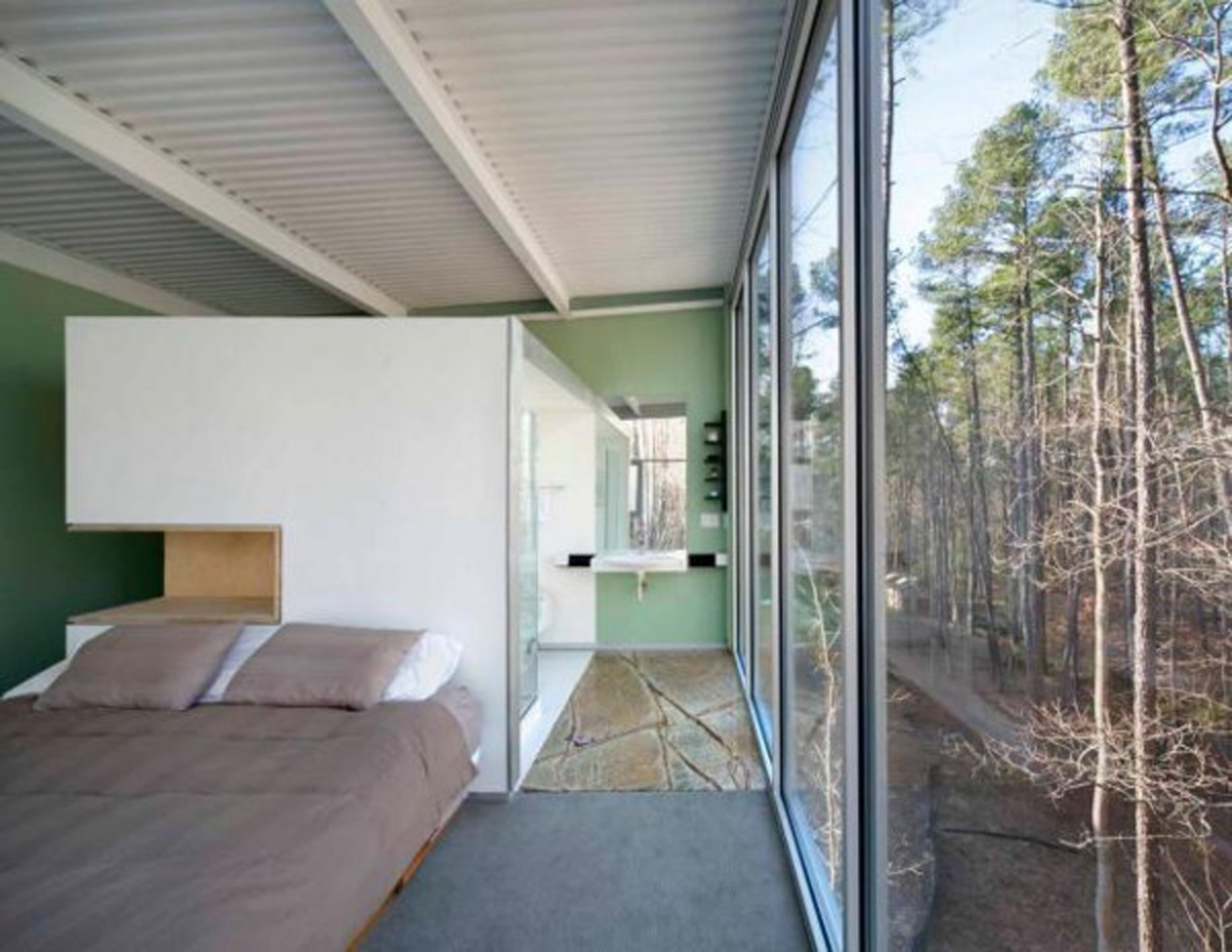 Modern Houses in Forest Environment, A Slop Home Design - Bedroom and Bathroom
