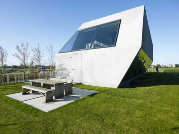 Sodae House, Unusual Angled Glass House Design - Garden