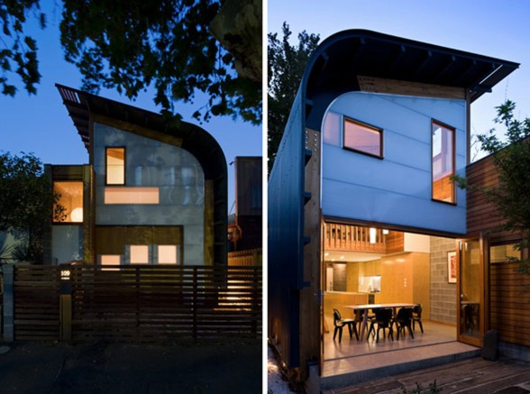 Wooden and Contemporary Australian Eco-House Design - Night View