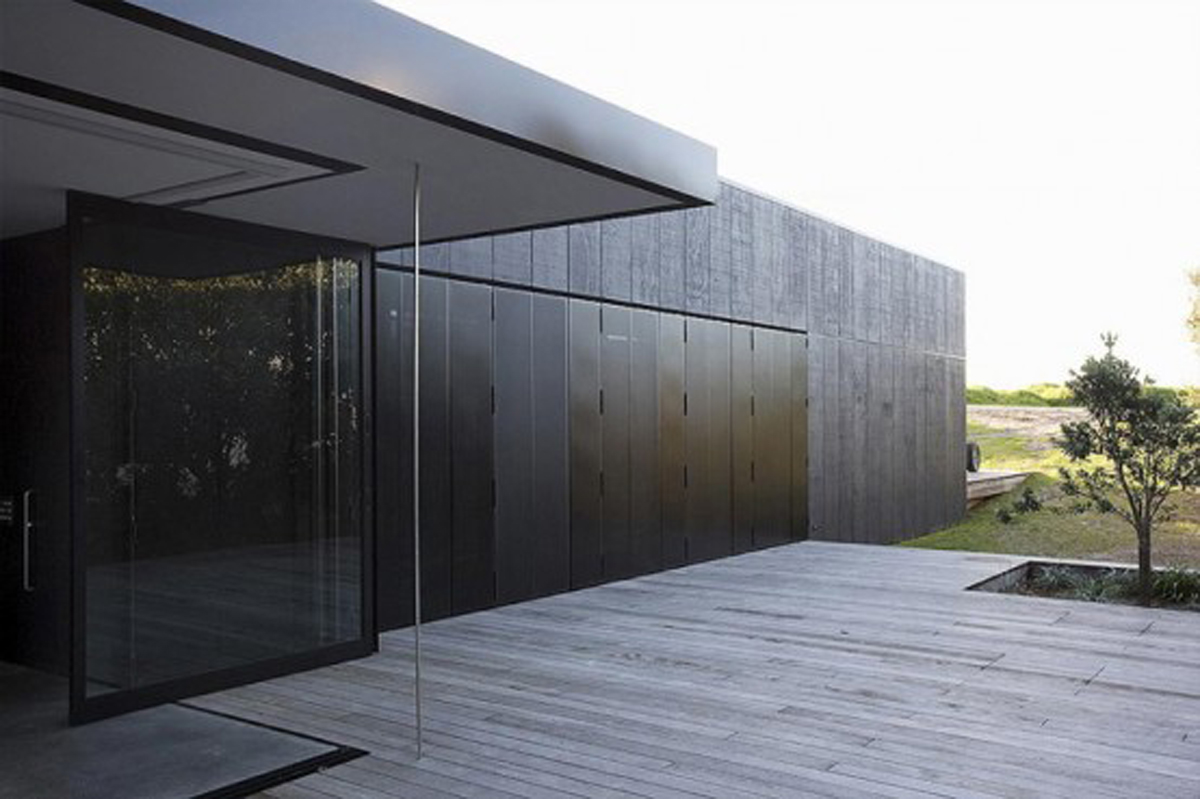 Black Cubic House Design With Mixing Modern Architecture