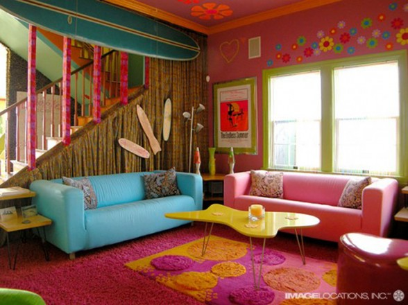 Colorful Beach House, Cheerful Design for Your Childs - Living room