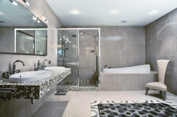 Elegant African Jungle Interior for A Large Apartment - Bathroom