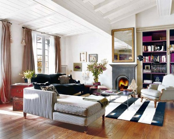 French Ethnic Style Apartment Ideas, Charming Design in Barcelona - Living Room