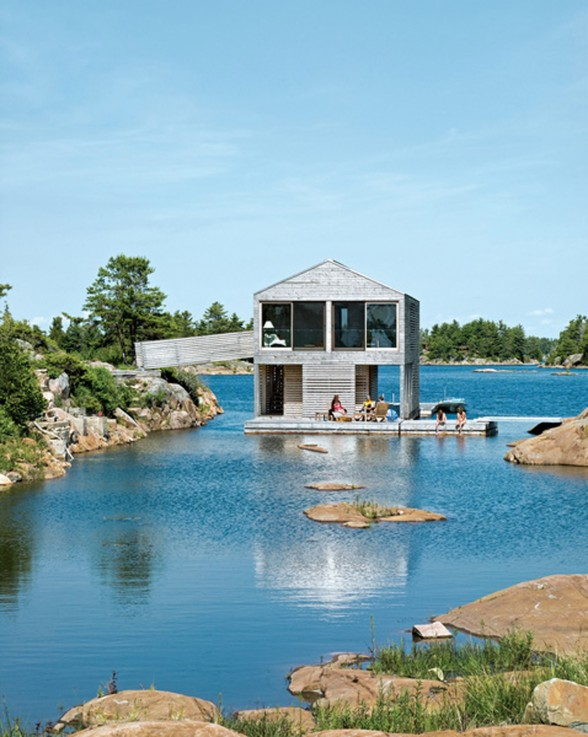 Integrated Dock and House of Boat with Two Level Floating Home Design