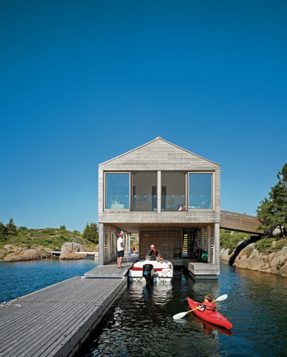 Integrated Dock and House of Boat with Two Level Floating Home Design - Dock