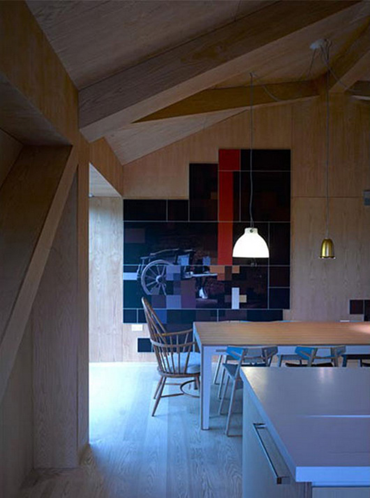 MVRDV Work in Unique Balanced Barn House - Kitchen and Dining Room