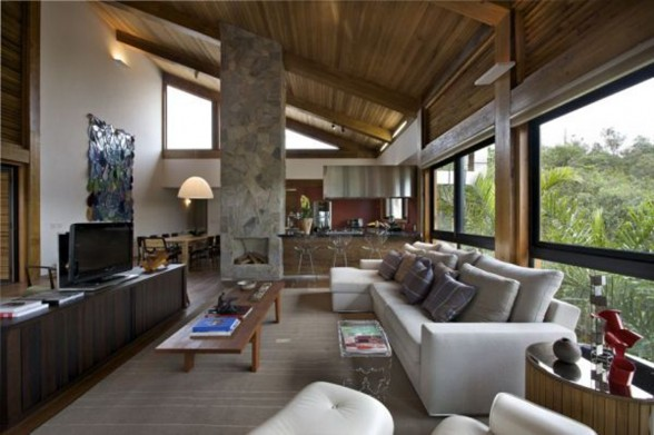 Rock and Wood Combination, Mountain House from David Guerra Architecture - Living room