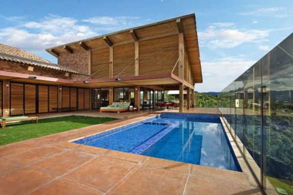 Rock and Wood Combination, Mountain House from David Guerra Architecture - Pool