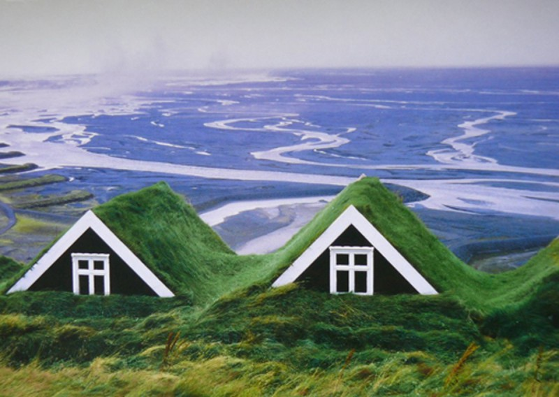 Traditional Icelandic House, Beautiful Green Building   Views