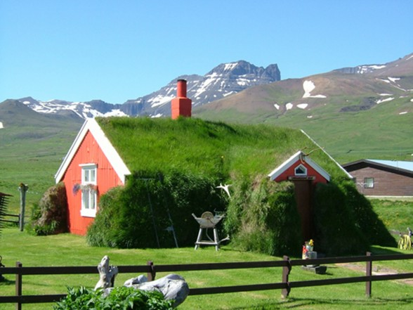 Traditional Icelandic House, Beautiful Green Building - Yard