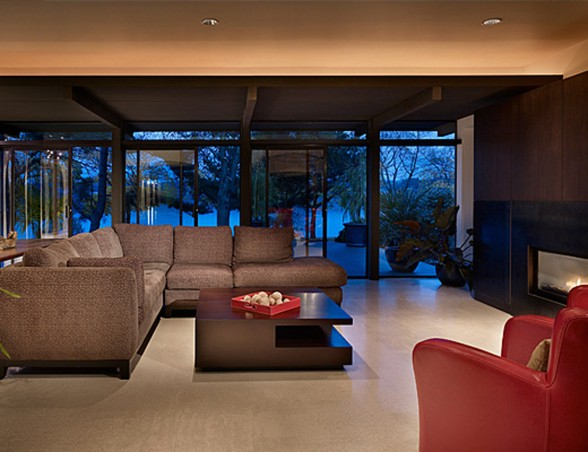 Two Storey Glass House Architecture in Modern Design for Family Living Space - Living room