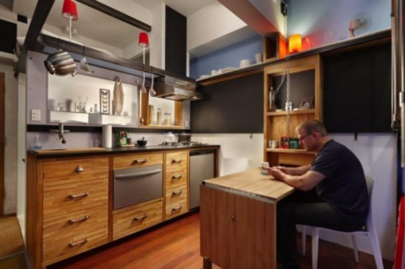 Unusual Interior Design of A Basement Apartment - Kitchen