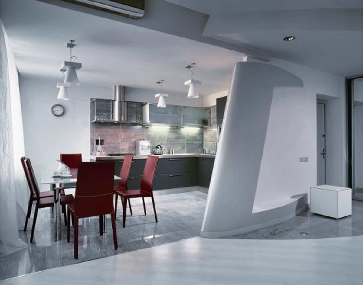 Dynamic Minimalist Grey Themed Apartment - Kitchen