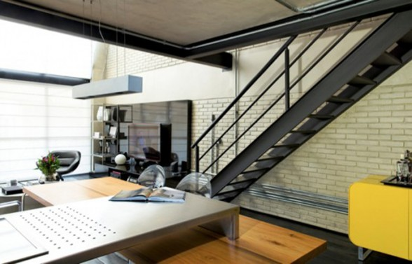 The Industrial Loft, Great Interior Design with Brick-Like Decoration - Staircase