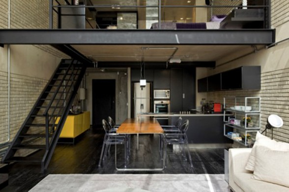 The Industrial Loft, Great Interior Design with Brick-Like Decoration - Two Storey