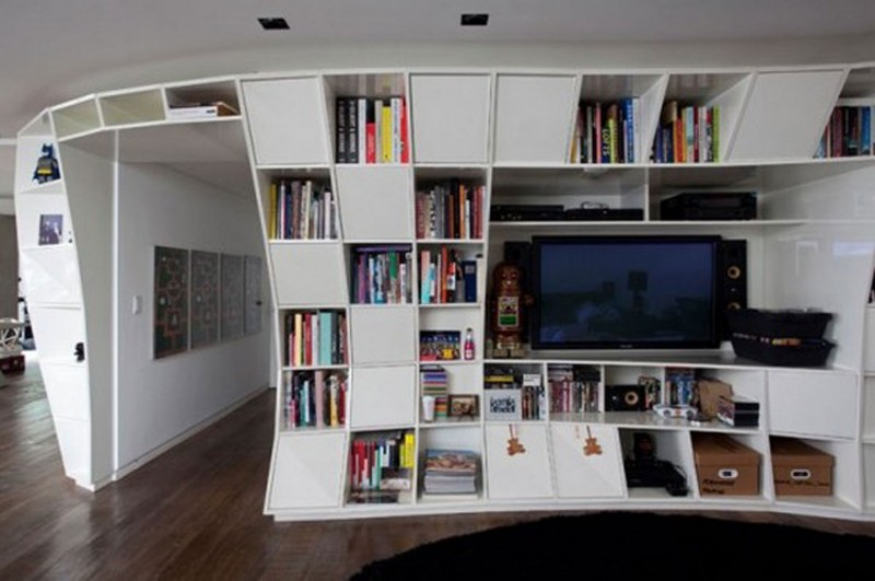 Awesome Design, Bookshelf Apartment Ideas From Triptygue Studio