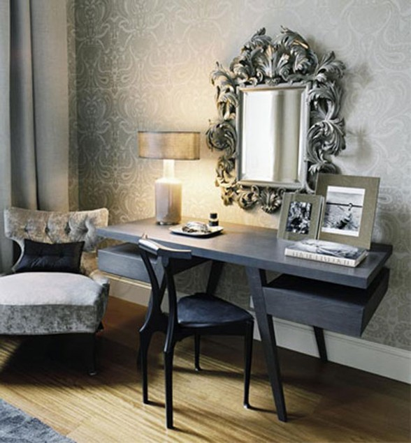 Elegant and Glamorous Apartment Ideas with Beautiful Glass Decoration - Reading Desk