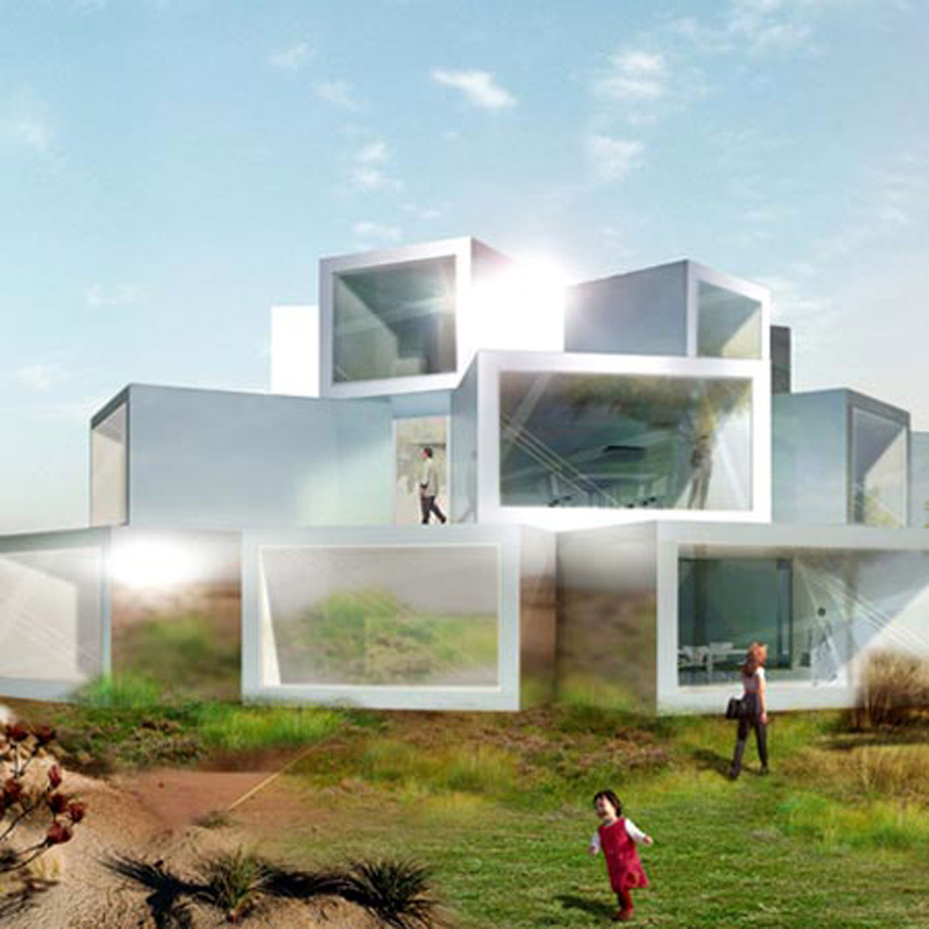futuristic cubed architecture for ordos 100 from julian de
