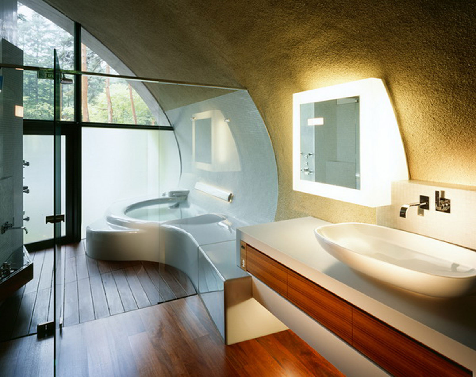 Futuristic Home Design with Natural Environment in Japan - Bathroom