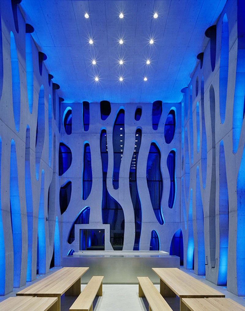Futuristic LED House Design, Illuminated Nordwesthaus   Blue Interior