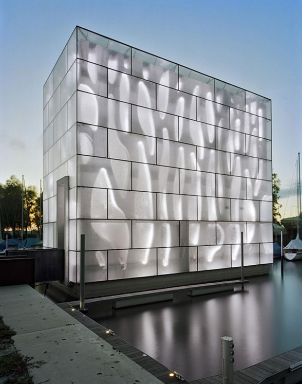 Futuristic LED House Design, Illuminated Nordwesthaus - White Lamp