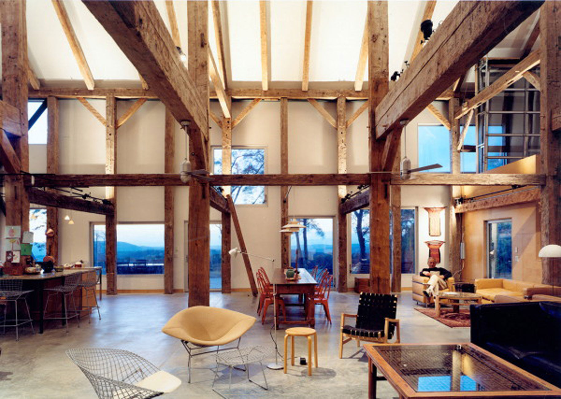 Goodman House, Unique Barn House Design from Preston Scott Cohen - Interior