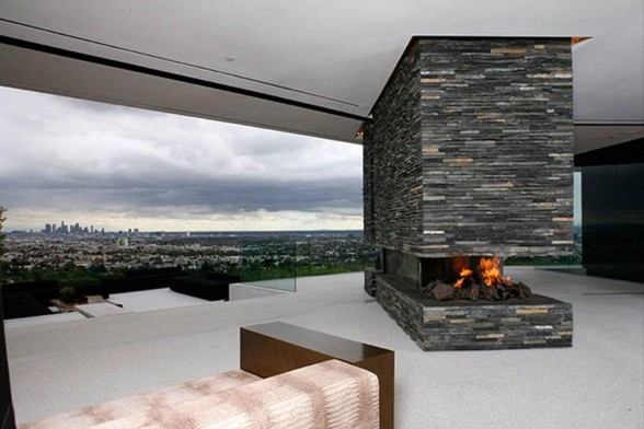 Hollywood Hills Residence, Spectacular View in Fabulous Site - Fireplace