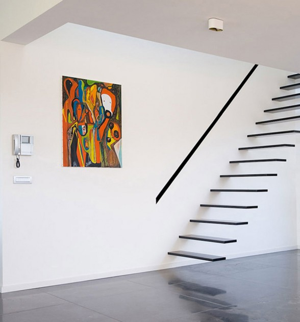 Modern Brick House Design with Irregular Shape Architecture - Floating Staircase