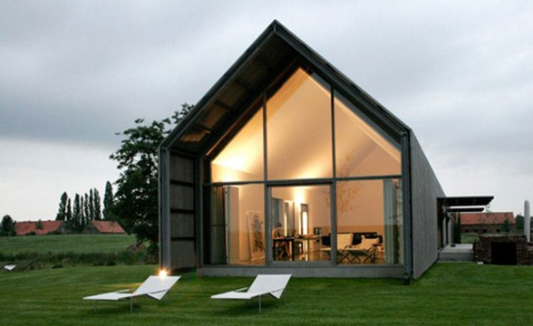 Modern Home Design, Sustainable Barn House Shaped - Facade