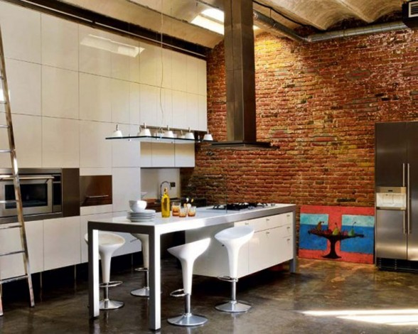 Modern Loft with Industrial Bricks Element for Apartment Ideas - Dining Room