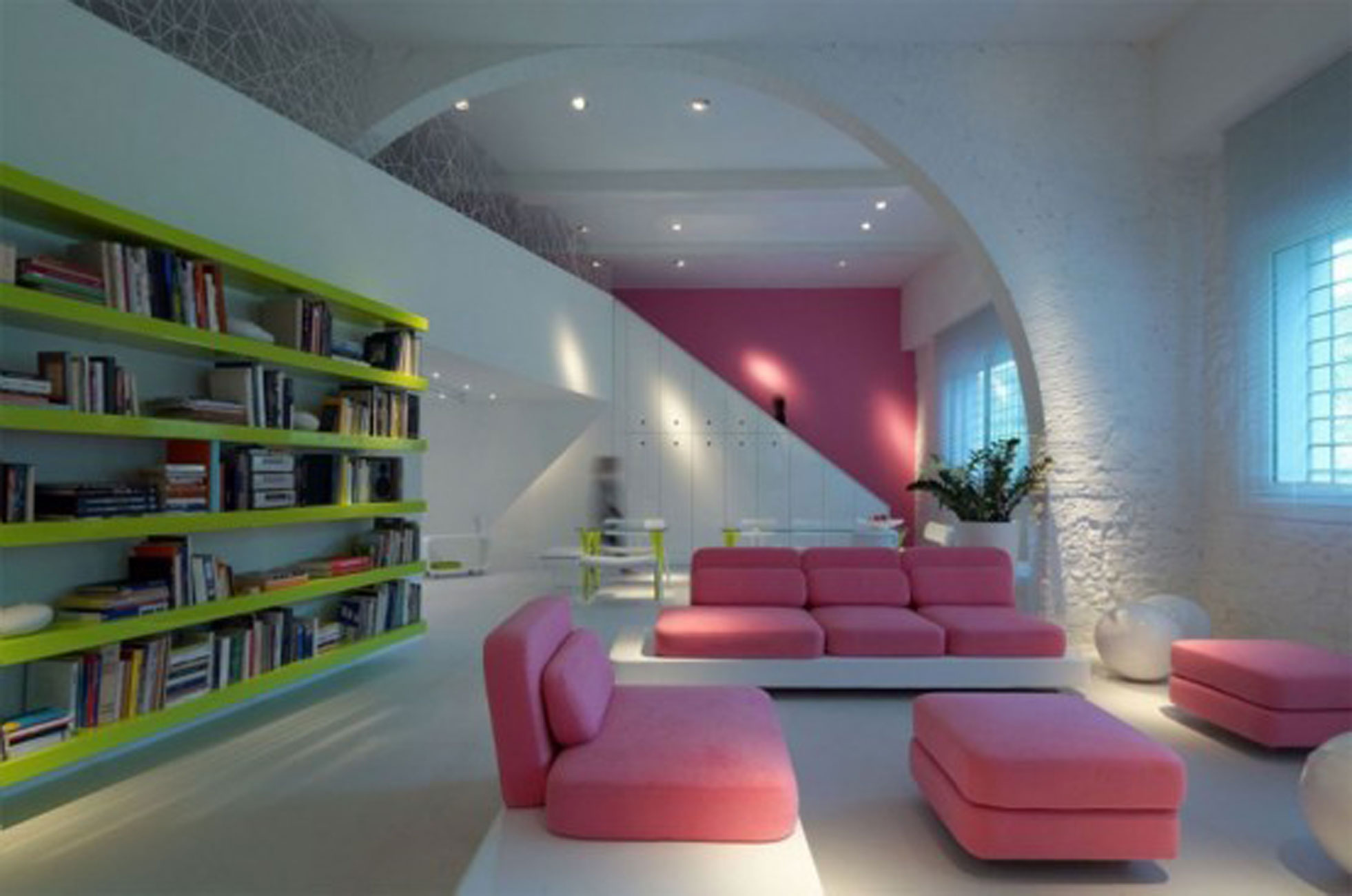 Modern and Colorful House Design Decorated with Bright Lamps - Livingroom