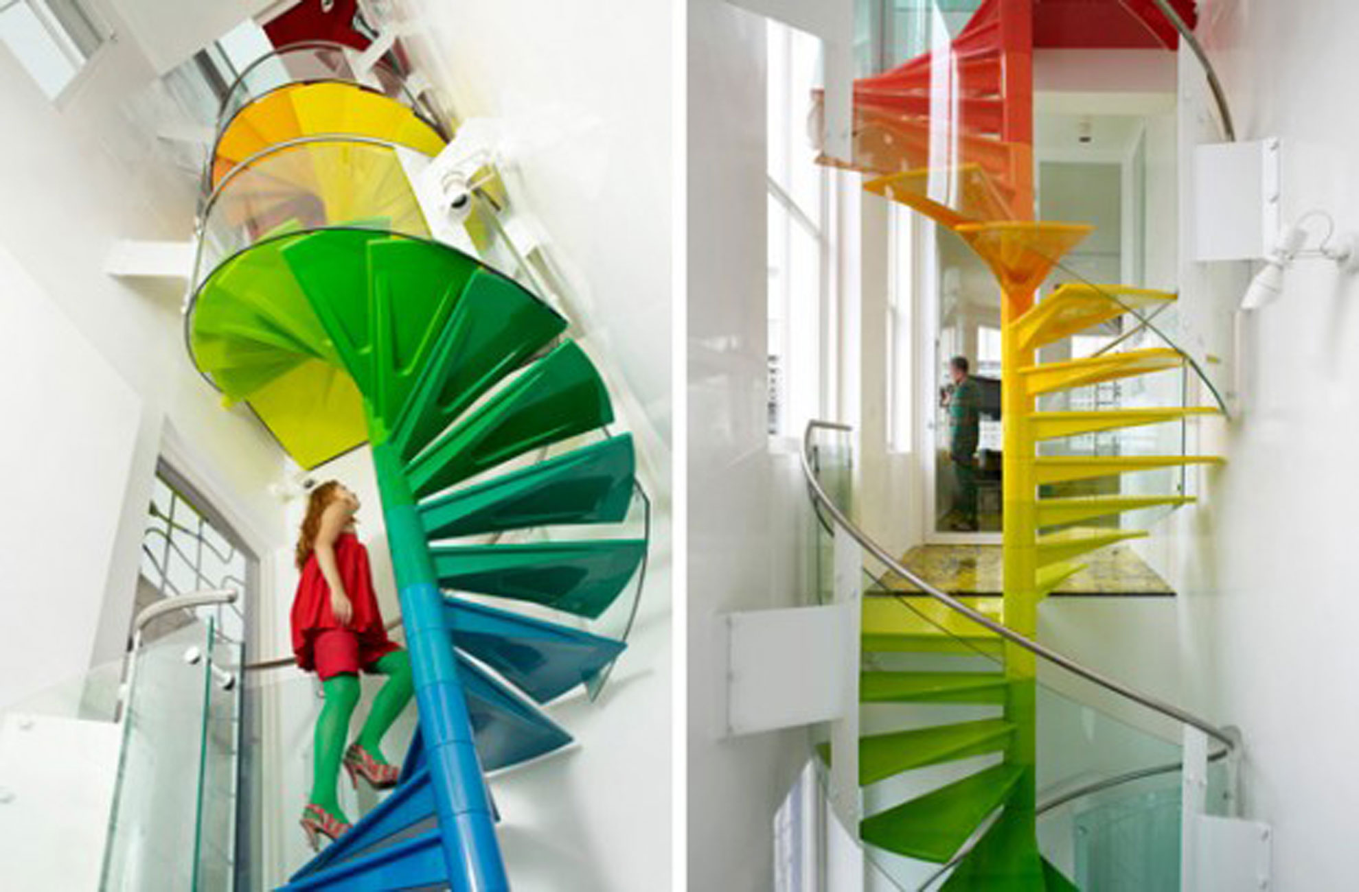 The Rainbow House, Artistic and Fun Collaboration in A House - Rainbow Staircase