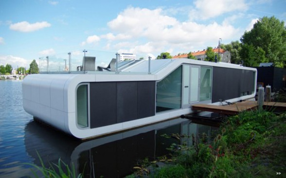 Watervilla De Omval of Amstel River Floating House, Modern Houseboat from Amsterdam