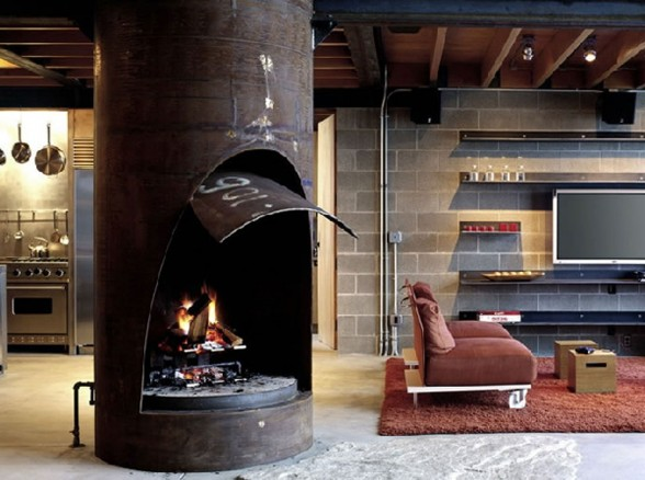 Astounding House Architecture for a Mountain Residence - Fireplace