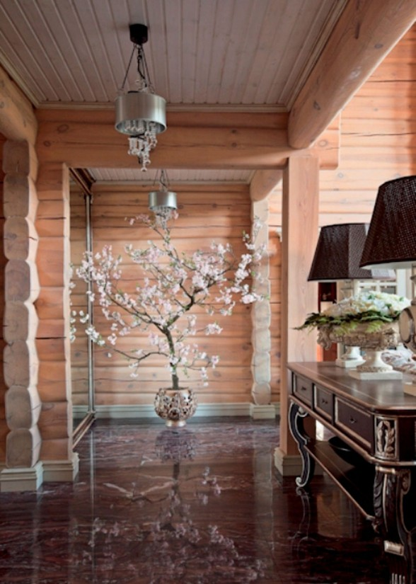 Beautiful Wooden Villa Design with Amazing Fireplace on Russia - Flower Decoration