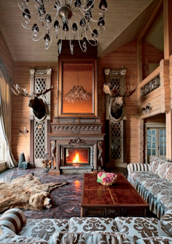 Beautiful Wooden Villa Design with Amazing Fireplace on Russia - Living room
