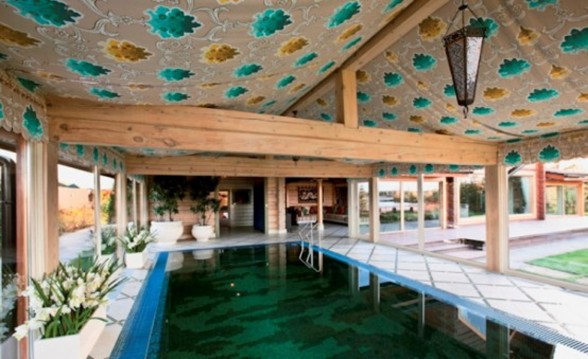Beautiful Wooden Villa Design with Amazing Fireplace on Russia - Pool