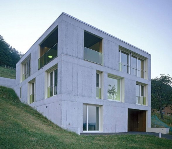 Contemporary Concrete House Design in Rural Landscape of Switzerland - Facade